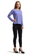 Solid Boat Neck Full Sleeve Top - MODA ELEMENTI