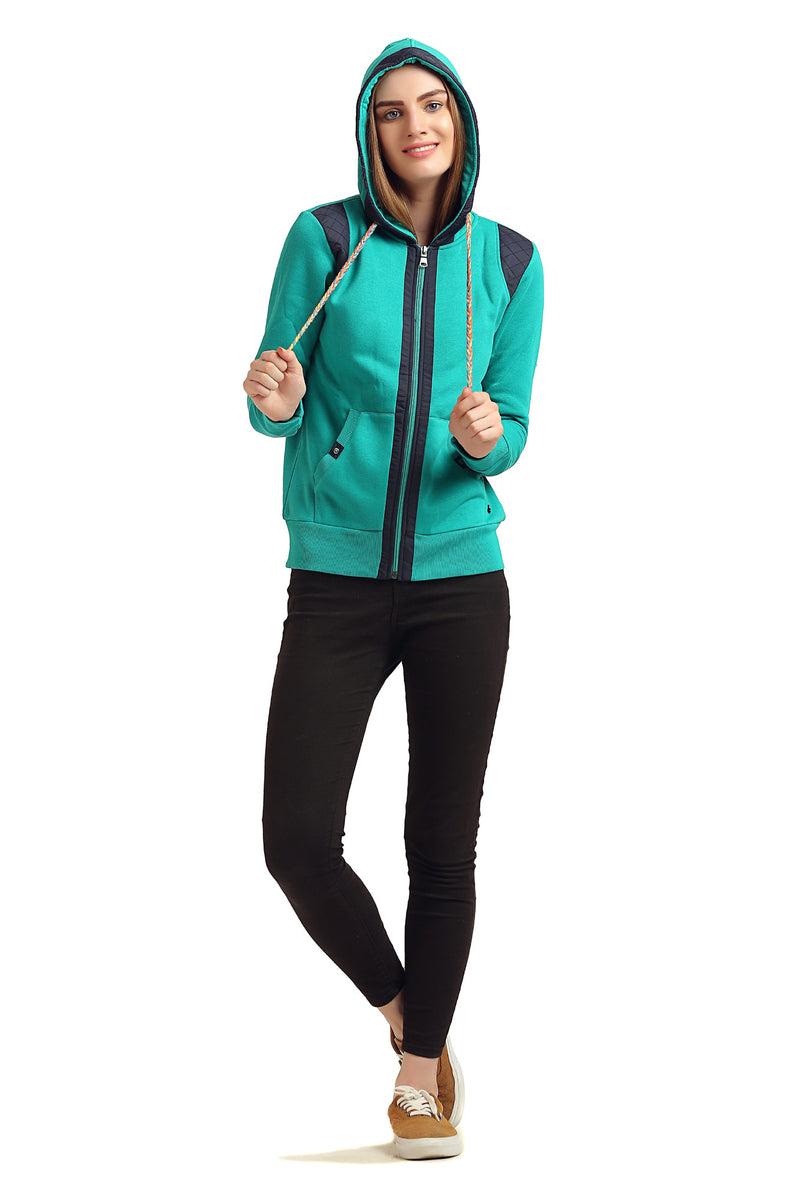 Plain Front Zipper Hooded Sweatshirt - MODA ELEMENTI