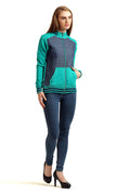 Full Sleeve Zipper Mix Sweatshirt - MODA ELEMENTI