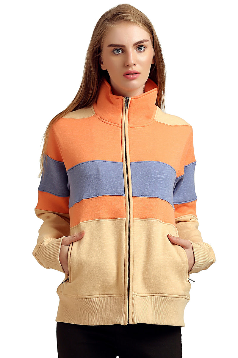 Block Striped Full Zipper Sweatshirt - MODA ELEMENTI