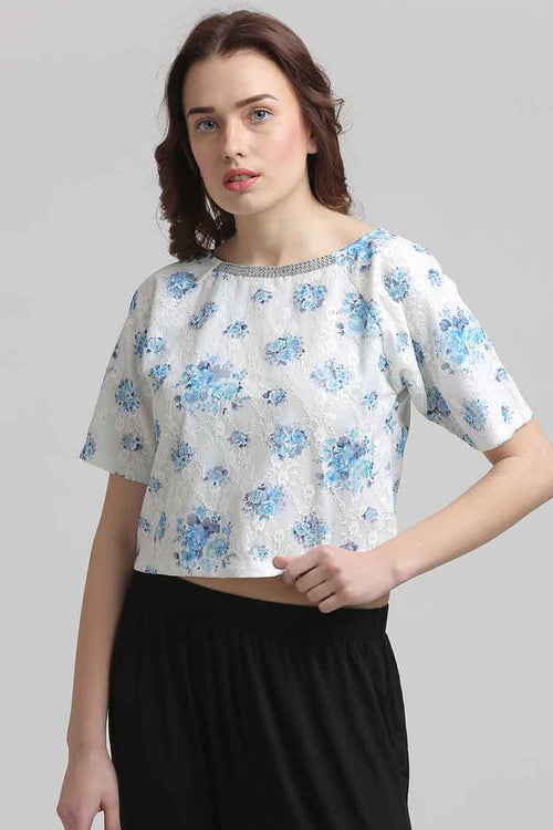 Lace Embellished Crop Top - MODA ELEMENTI