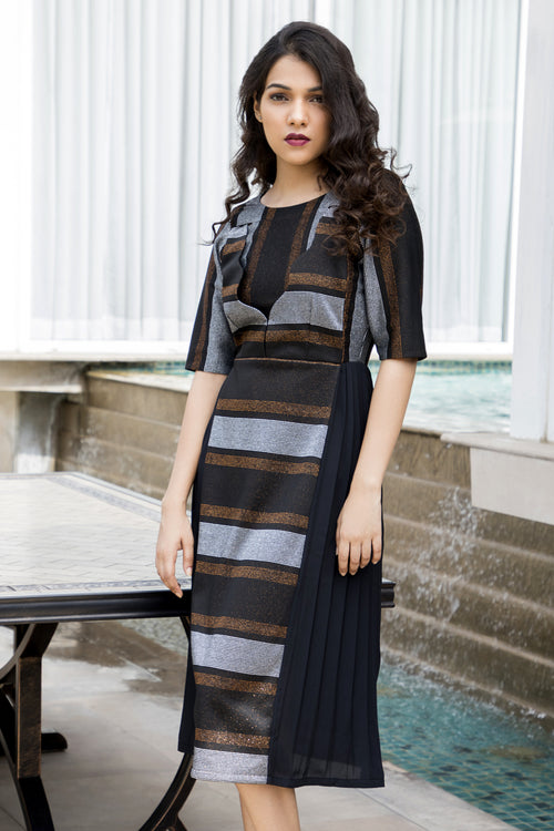 Geometric Wave Midi Dress