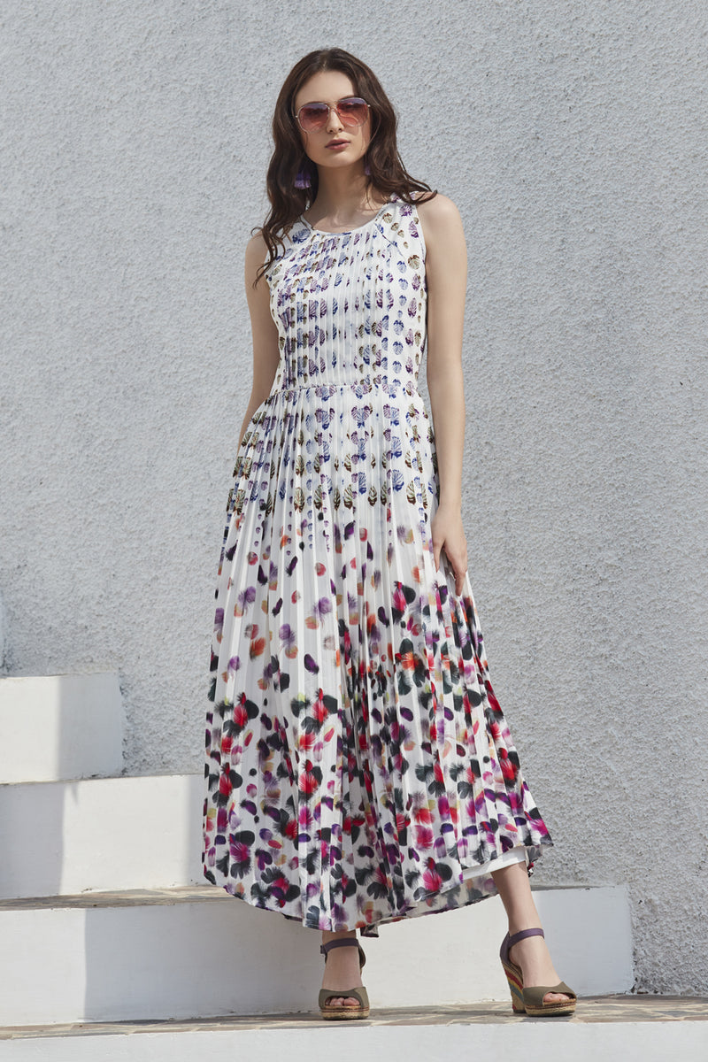 Feather Printed Maxi Dress
