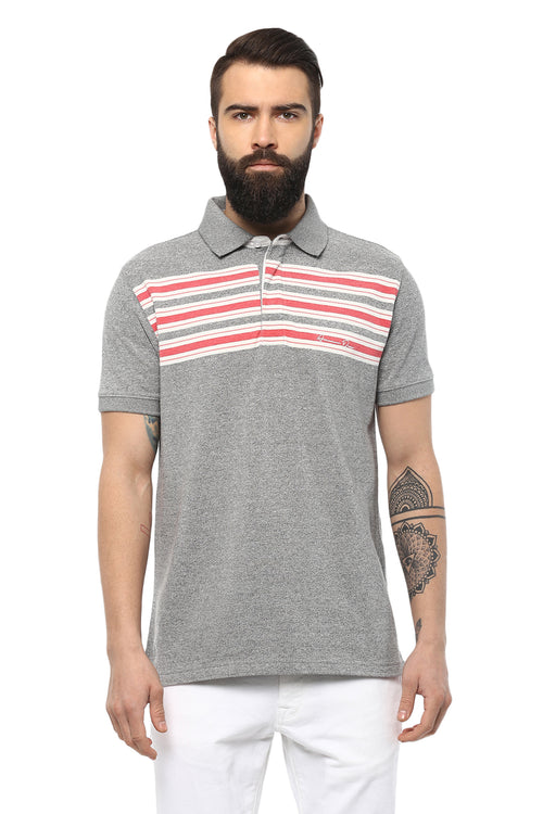 Axmann Striped Polo Neck Half Sleeve Casual T-Shirt - MODA ELEMENTI