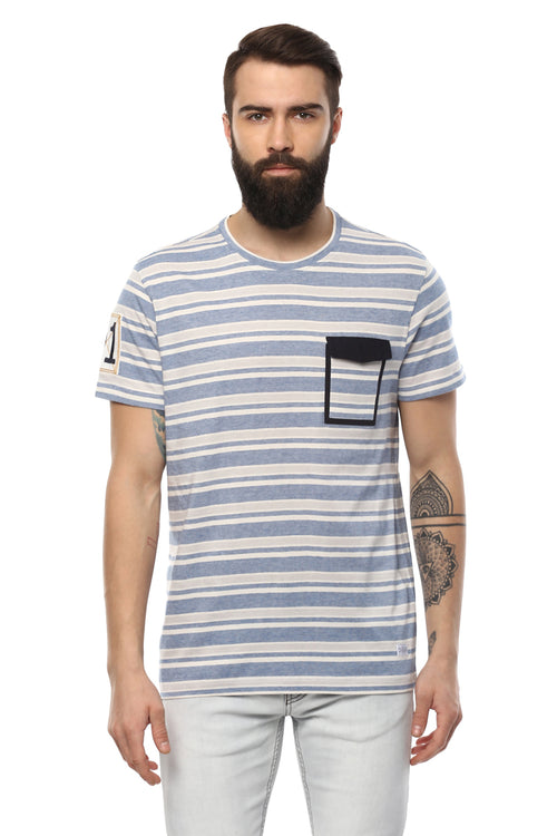 Axmann Striped Round Neck Casual T-Shirt - MODA ELEMENTI
