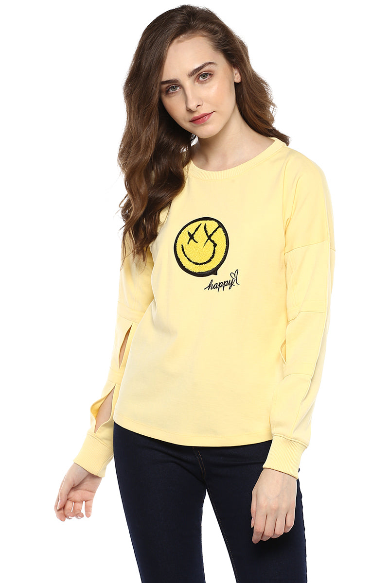 Yellow Solid Round Neck Winter Top