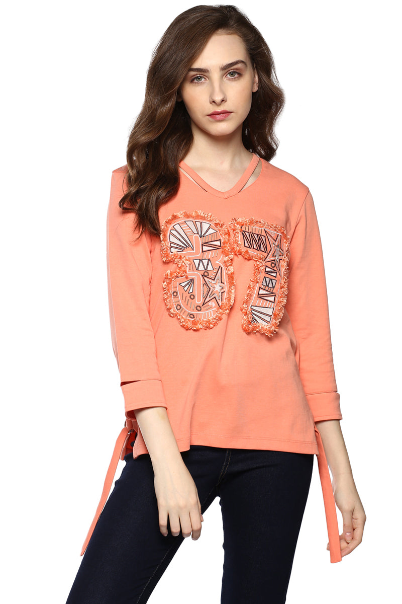 Front Embroidered Solid Winter Top - MODA ELEMENTI