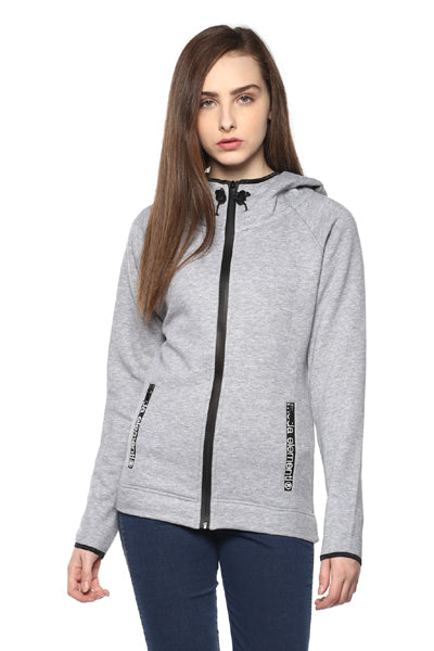 Grey Solid Hooded Sweatshirt - MODA ELEMENTI