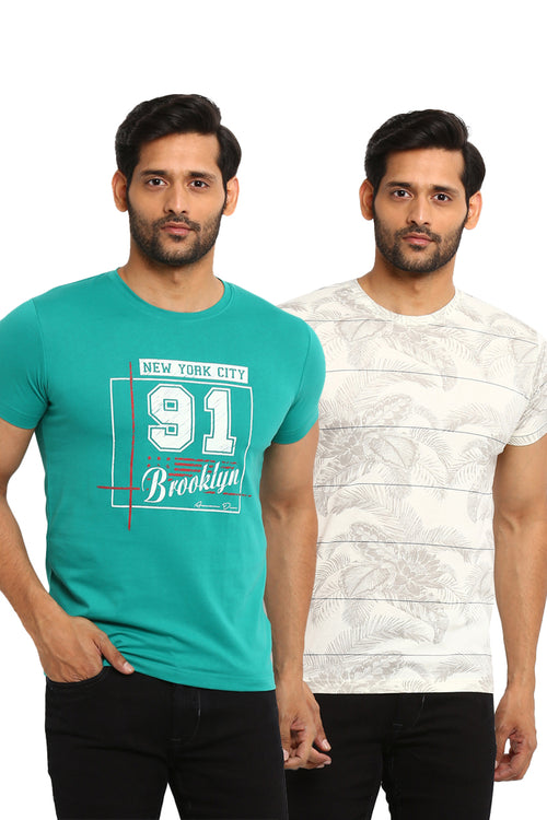 AXMANN Casual T-Shirt Combo Pack (Off White | S Green) - MODA ELEMENTI