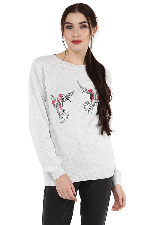 Loving Birds Embroidered Round Neck Jumper - MODA ELEMENTI