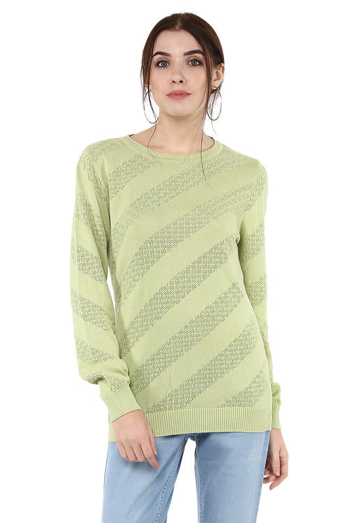 Self Design Round Neck Full Sleeve Jumper
