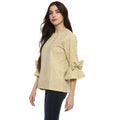 Bell Sleeve Self Design Round Neck Winter Top - MODA ELEMENTI