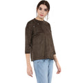 Round Neck Suede Design Winter Top - MODA ELEMENTI