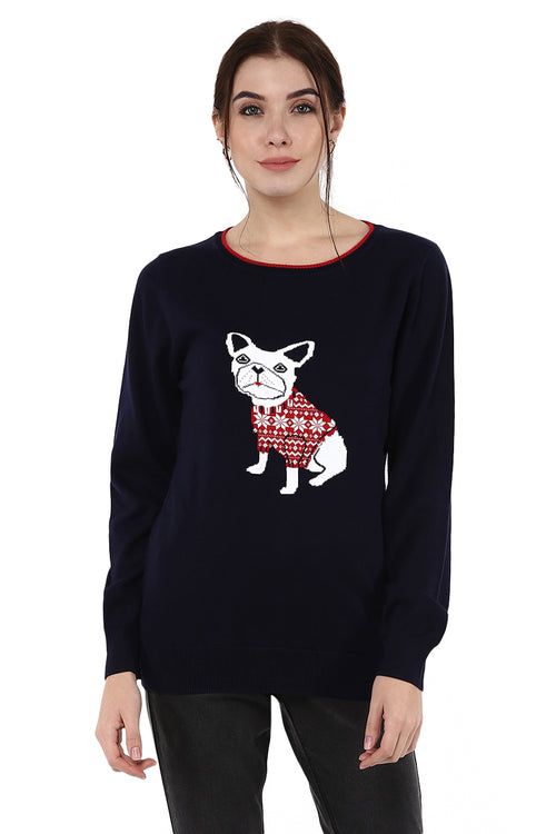 Cute Dog Intarsia Round Neck Jumper - MODA ELEMENTI