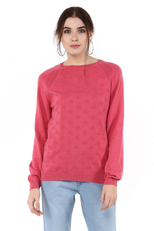 Solid Pink Full Sleeve Round Neck Jumper - MODA ELEMENTI