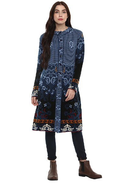 New Look Full Sleeve Buttoned Jacquard Long Cardigan - MODA ELEMENTI