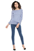 Striped Boat Neck Casual Top - MODA ELEMENTI