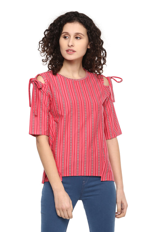 Morning Glory Cold Shoulder Casual Top - MODA ELEMENTI