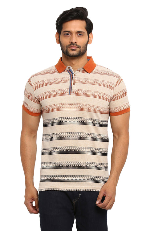 Axmann Striped Half Sleeve Polo T-Shirt