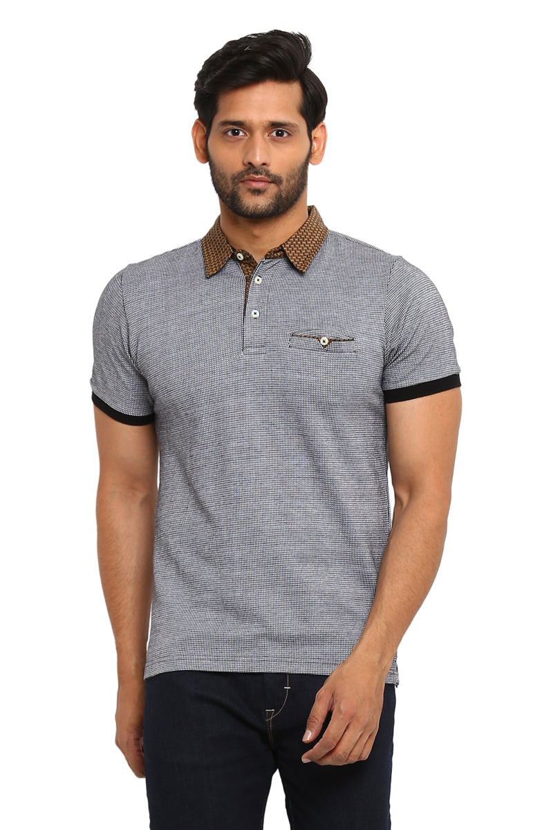 Axmann Solid Polo Neck Half Sleeve Casual T-Shirt