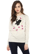 Full Sleeve Butterfly Patch Embroidered Sweatshirt - MODA ELEMENTI