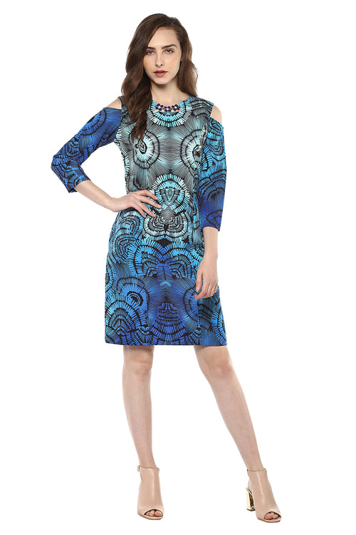 Deep Sea Cold Shoulder Midi Dress - MODA ELEMENTI