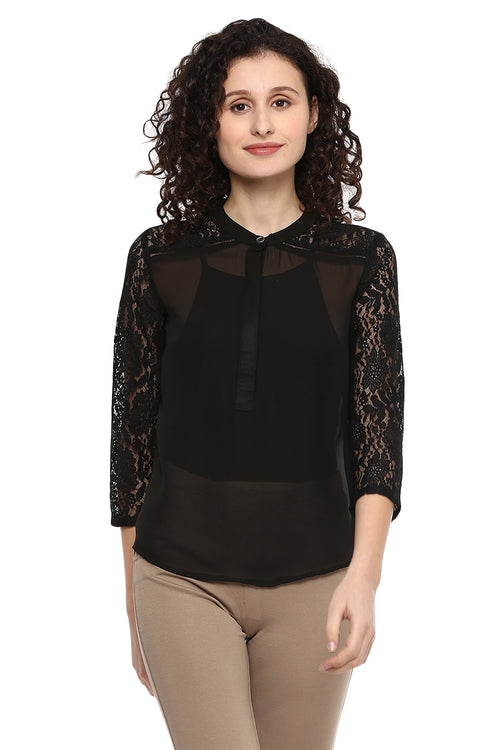 Floral Lace Sleeve Casual Top - MODA ELEMENTI