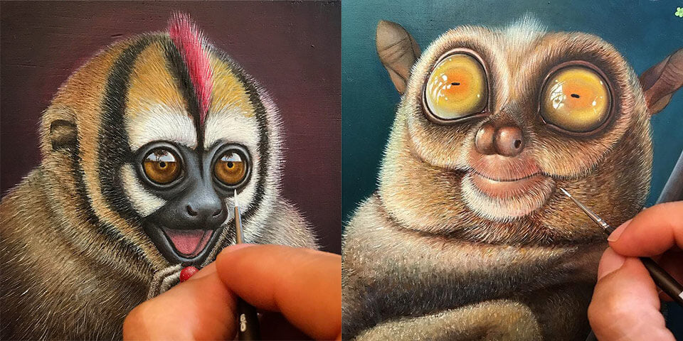Two WIP paintings by Jean-Pierre Arboleda for