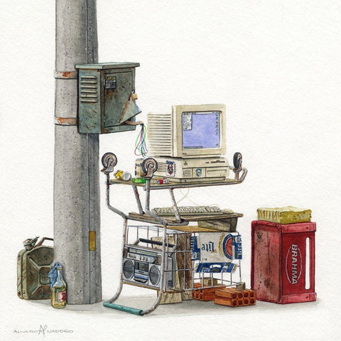 "Alvaro Naddeo - ""ICQ"" - watercolour on paper - 24 x 24cm (9.5""x9.5"")"