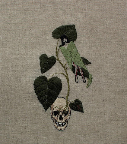 "Adipocere - ""Once Stung, Never Forgotten (Dendrocnide Moroides)"" - hand embroidery on natural linen, cotton thread - 35.6 x 25.4 cm (14""x10"")"