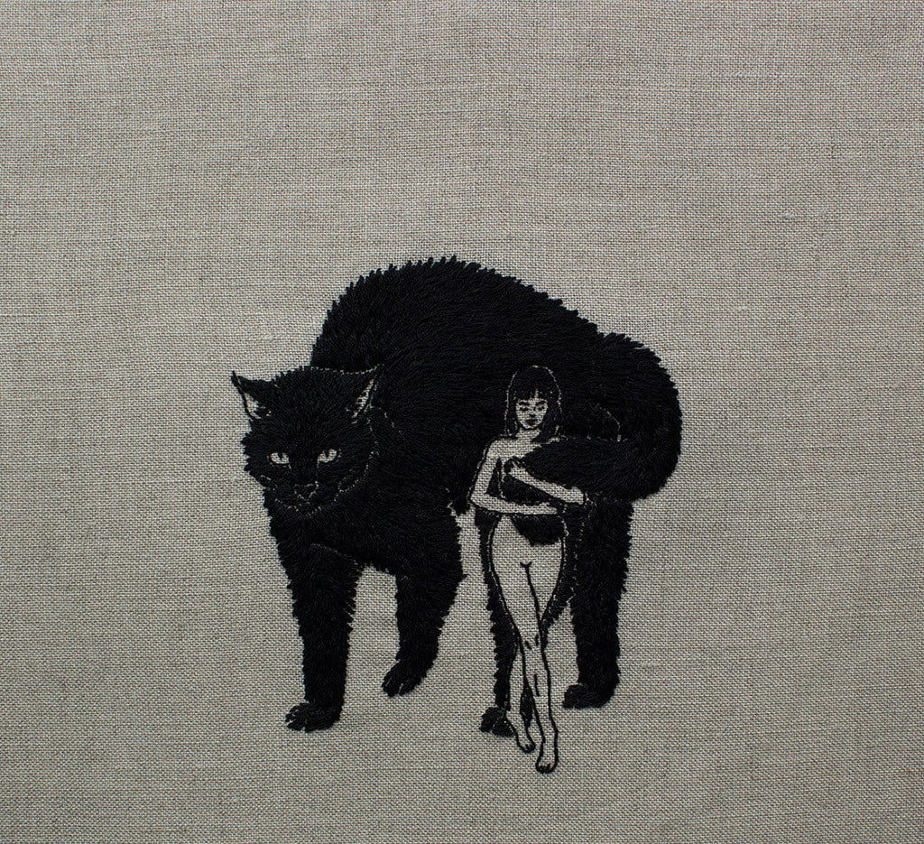 "Adipocere - ""Familiar"" - hand embroidery on natural linen, cotton thread - 25.4 x 35.6 cm (10""x14"")"