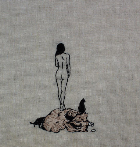 "Adipocere - ""Untitled 2"" - hand embroidery on natural linen, cotton thread - 25.4 x 35.6 cm (10""x14"")"