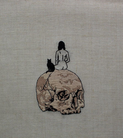 "Adipocere - ""Untitled 1"" - hand embroidery on natural linen, cotton thread - 25.4 x 35.6 cm (10""x14"")"