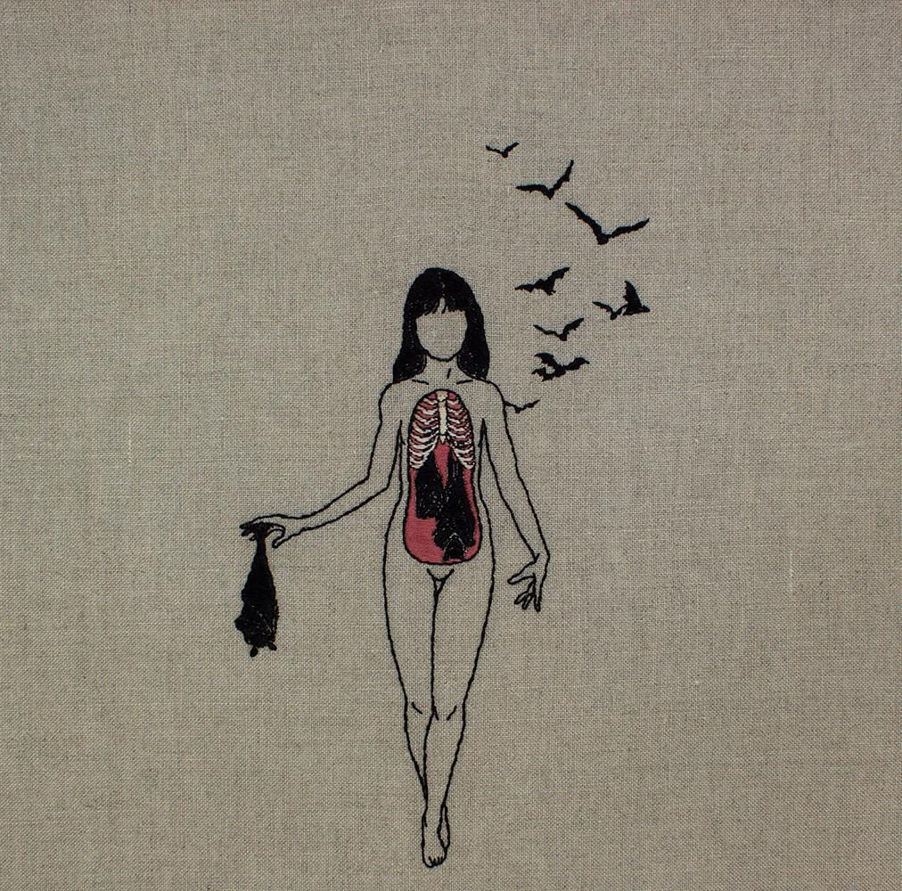 "Adipocere - ""We Are Made of Bats II"" - hand embroidery on natural linen, cotton thread - 25.4 x 35.6 cm (10""x14"")"