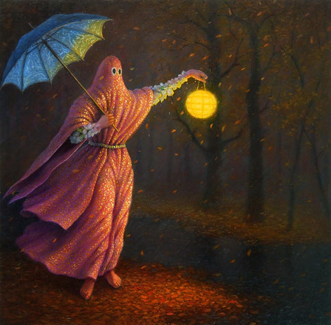 "Adrian Cox - 'Big Dreamer Searching for Spectral Witnesses' - oil on panel - 25.5 x 25.5cm (10""x10"")"
