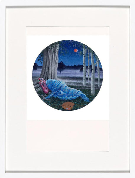 "Adrian Cox - ""First Night: Painter's Rest"" - acrylic gouache on paper - 25.4 x 25.4cm (10""x10"")"