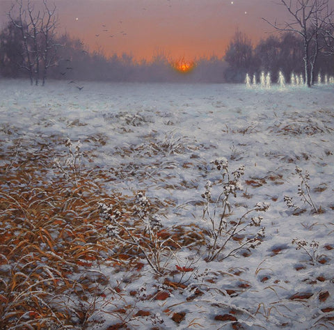 "Adrian Cox - 'Spectral Brotherhood in Winter' - oil on panel - 25.5 x 25.5cm (10""x10"")"
