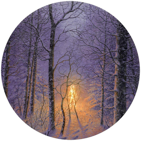 "Adrian Cox - ""Spectral Witness in the Snow"" - oil on panel - 30.5cm diameter (12"" diameter)"