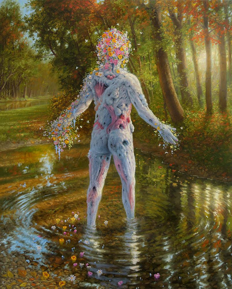 "Adrian Cox - ""Veiled Healer Lamenting the Summer"" - oil on panel - 40.6 x 50.8cm (16""x20"")"