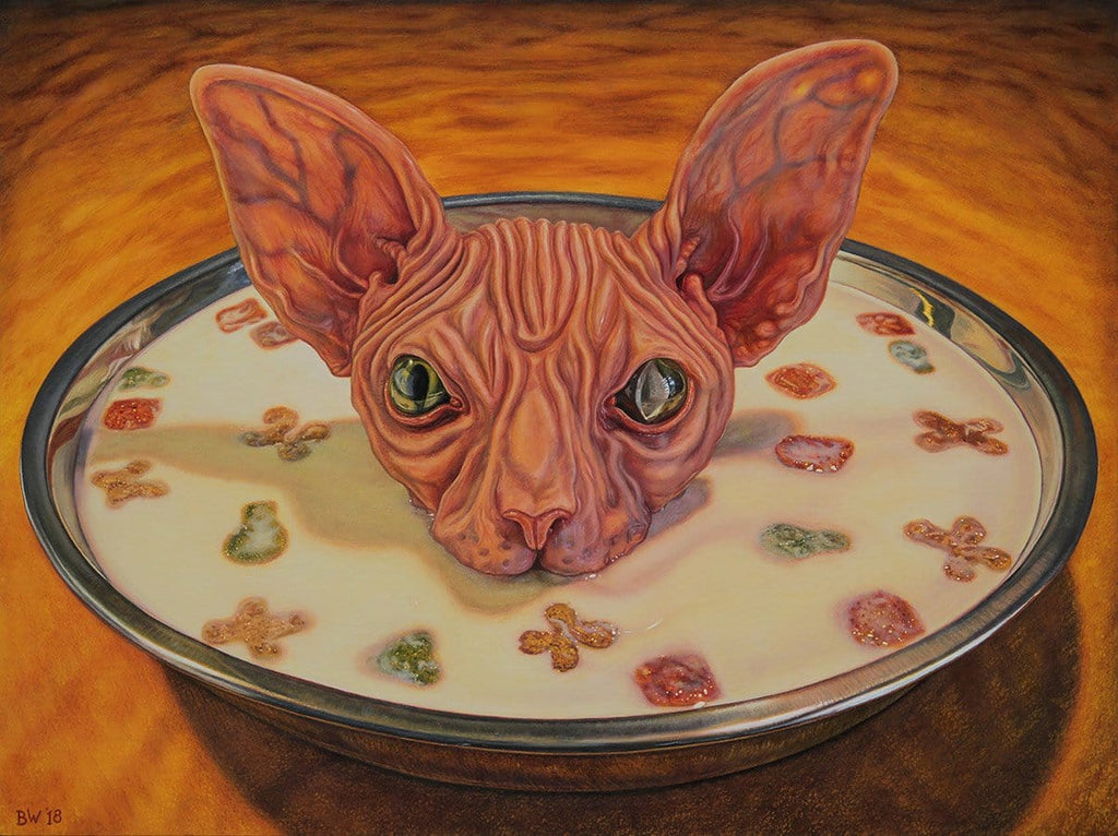 "Beau White - ""Milk and Kibble"" - oil on board - 40.5 x 30.5cm (16""x12"")"