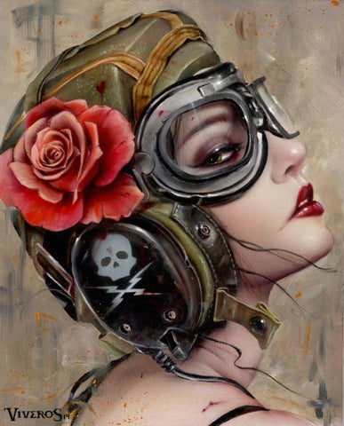 "Brian Viveros - ""Air-Heart"" - oil and acrylic on wood panel - 20.3 x 24.5cm (8""x10"")"