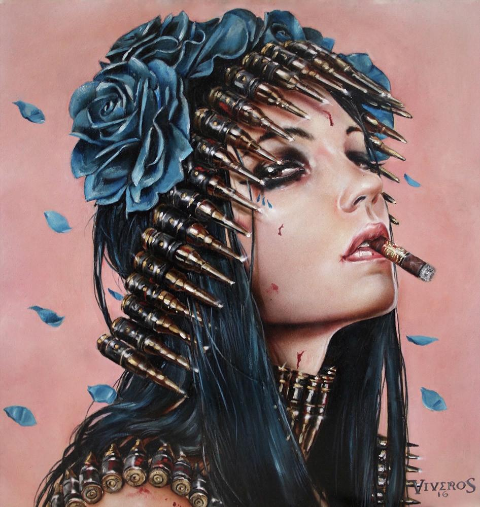 "Brian M. Viveros - ""Bullet Blues"" - oil and acrylic on maple wood - 25.4 x 25.4cm (10""x10"")"