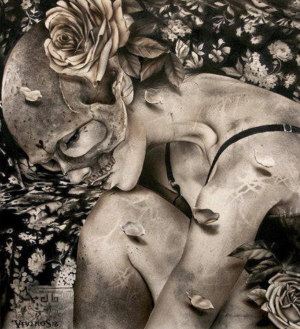 "Brian M. Viveros - 'The Other Side' - charcoal, ink, graphite, airbrush on rag board - 30.5 x 33cm (12""x13"")"