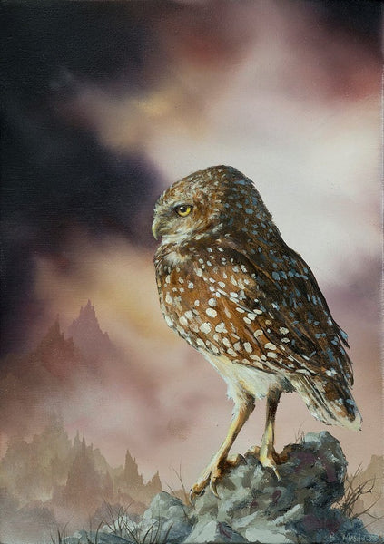 "Brian Mashburn- 'Burrowing Owl' - oil on panel - 12.7 x 17.8cm (5""x7"")"