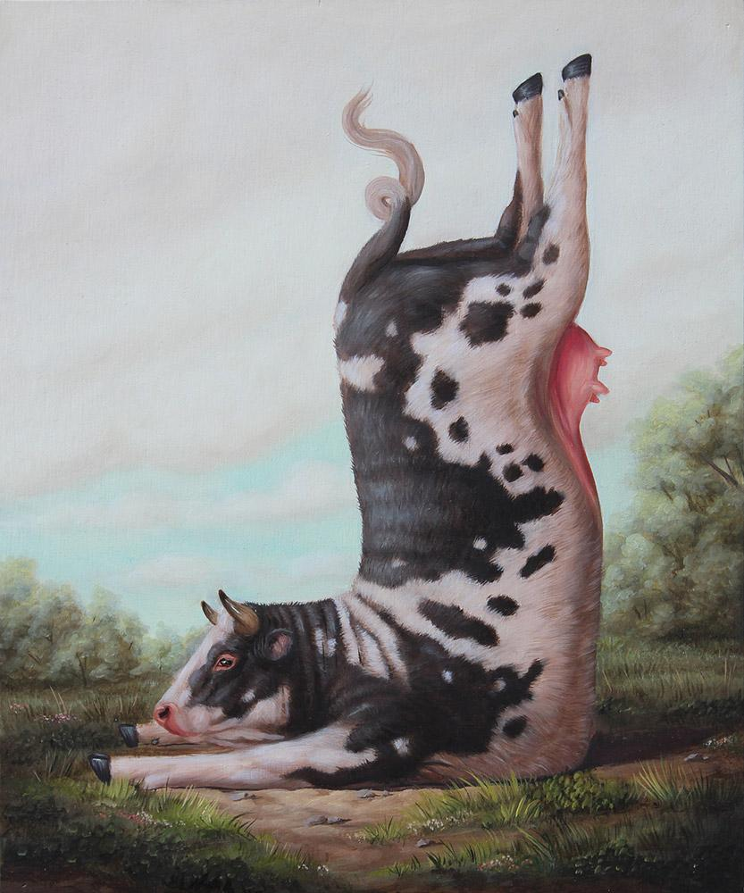 "Bruno Pontiroli - ""La cuisse légère"" - oil on wood panel - 30 x 25cm (11.8""x9.8"")"