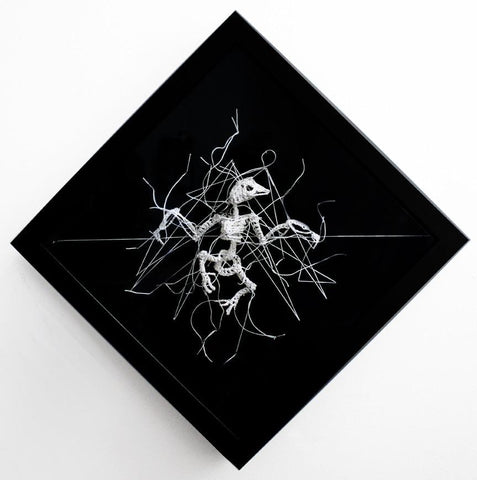 "Caitlin McCormack - ""Erratum"" - crocheted cotton on velvet"