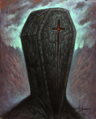 "Chet Zar - ""Coffinhead"" - oil on panel - 20.3 x 25.4cm (8""x10"")"