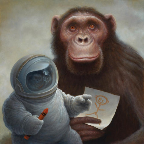 "Chris Leib - ""Drawing God with a Crayon"" - oil on board - 30.5 x 30.5cm (12""x12"")"