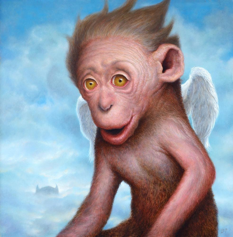"Chris Leib - ""Cherub"" - oil on board - 25.4 x 25.4cm (10""x10"")"