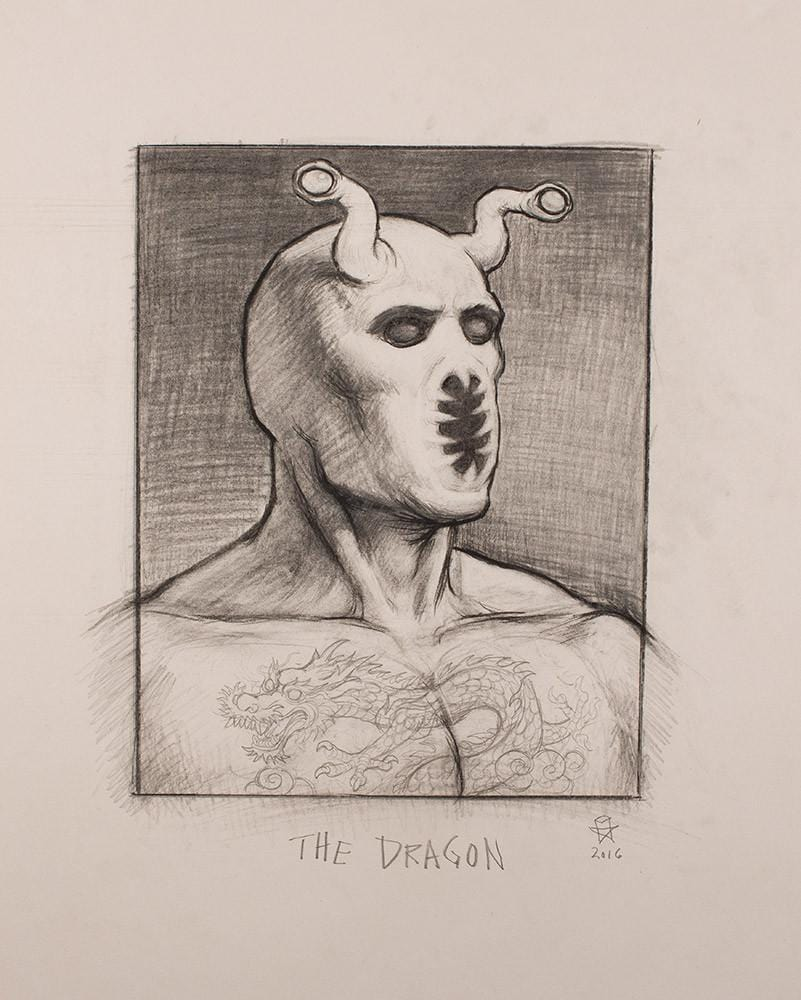 "Christopher Ulrich - ""The Dragon pencil sketch"" - graphite & charcoal on paper - 45.7 x 61.6cm (18""x24"")"